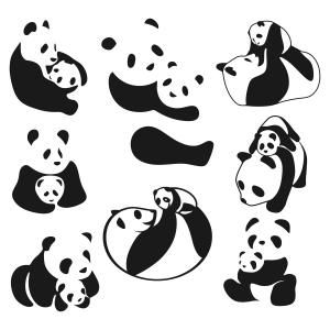 Panda clipart mother and baby #11