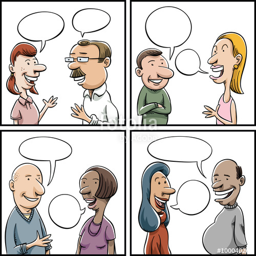 Panels clipart group conversation And women conversations with of
