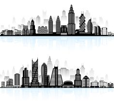 Panorama clipart city outline And city city shadow
