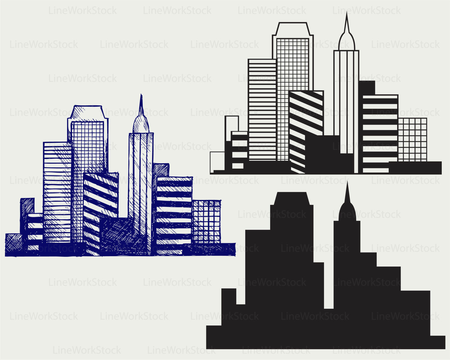 Panorama clipart city outline #3