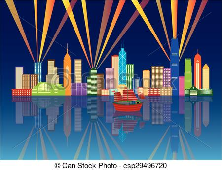 Panorama clipart cityscape Skyline Hong Illustration of Color