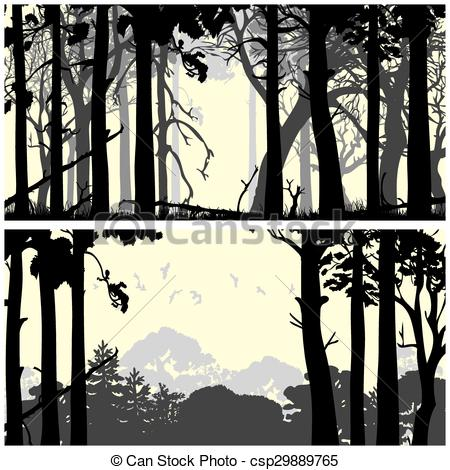 Panorama clipart forest Coniferous  forest Clip Vector