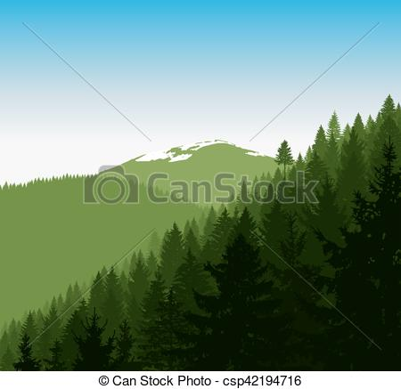 Panorama clipart forest Mountains  mountains Vector Panorama