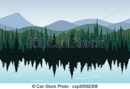 Panorama clipart forest Panorama Forest Vector Forest morning