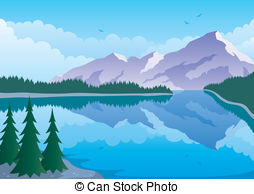 Panorama clipart forest Mountain Forest Vector Frozen morning