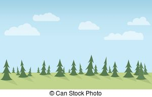 Panorama clipart forest Forest vegetation Flat  EPS