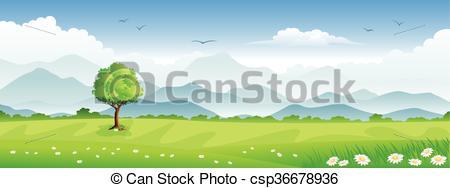Panorama clipart black and white Summer Panorama csp36678936 Panorama summer