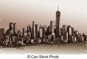 Panorama clipart manhattan Panorama York illustration New of