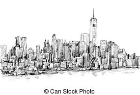 Panorama clipart paris city York with illustration  Manhattan