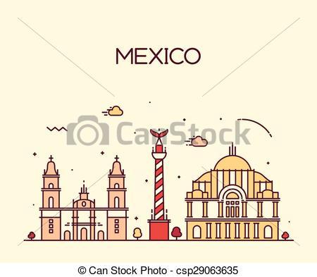 Panorama clipart mexico city City skyline art vector Trendy