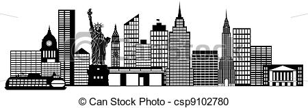 Panorama clipart new york skyline Illustration csp9102780 New Panorama City