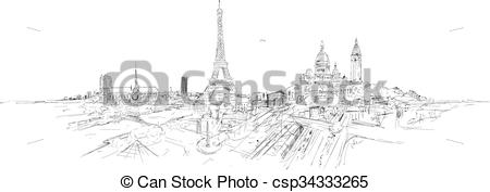 Panorama clipart paris city Clip panoramic Vector drawing city