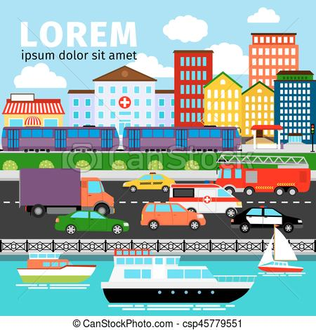 Panorama clipart river View Urban City Vector