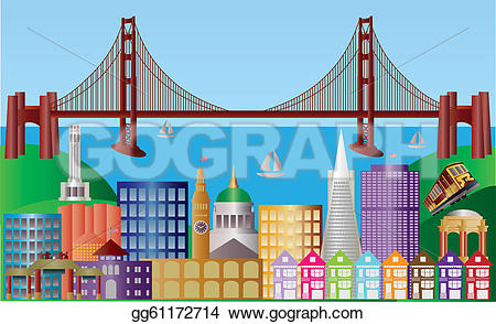 Panorama clipart valley Clipart bridge illustration francisco