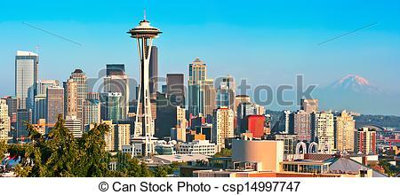 Panorama clipart seattle skyline Seen panorama of at skyline