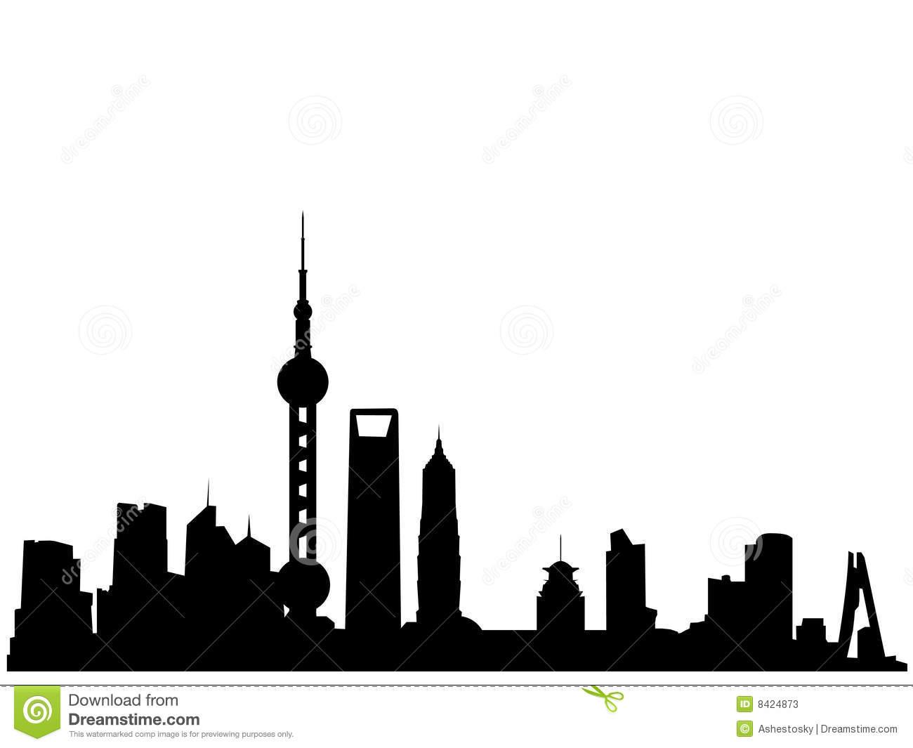 Skyscraper clipart shanghai Stock Photos Shanghai skyline silhouette
