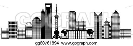 Panorama clipart shanghai Pudong clip city Art black