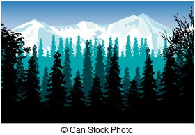 Panorama clipart valley Mountains  Three mountains of