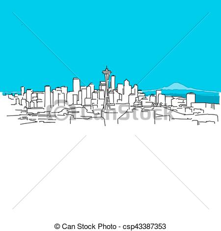 Panorama clipart vector Of  panorama Vector Blue