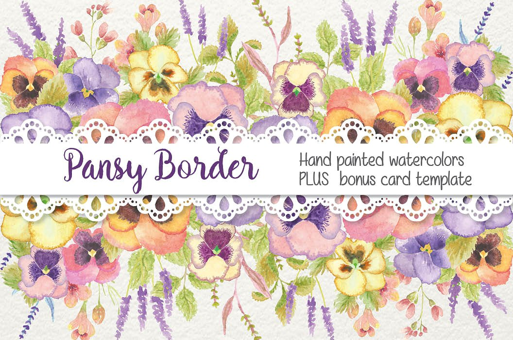 Pansy clipart border Illustrations Watercolor pansy ~