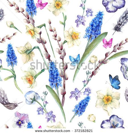 Pansy clipart butterfly vintage Seamless seamless watercolor bouquet pattern