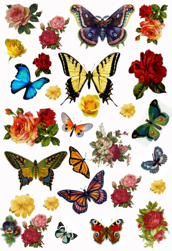 Pansy clipart butterfly vintage And Stickers Vintage Collage etc