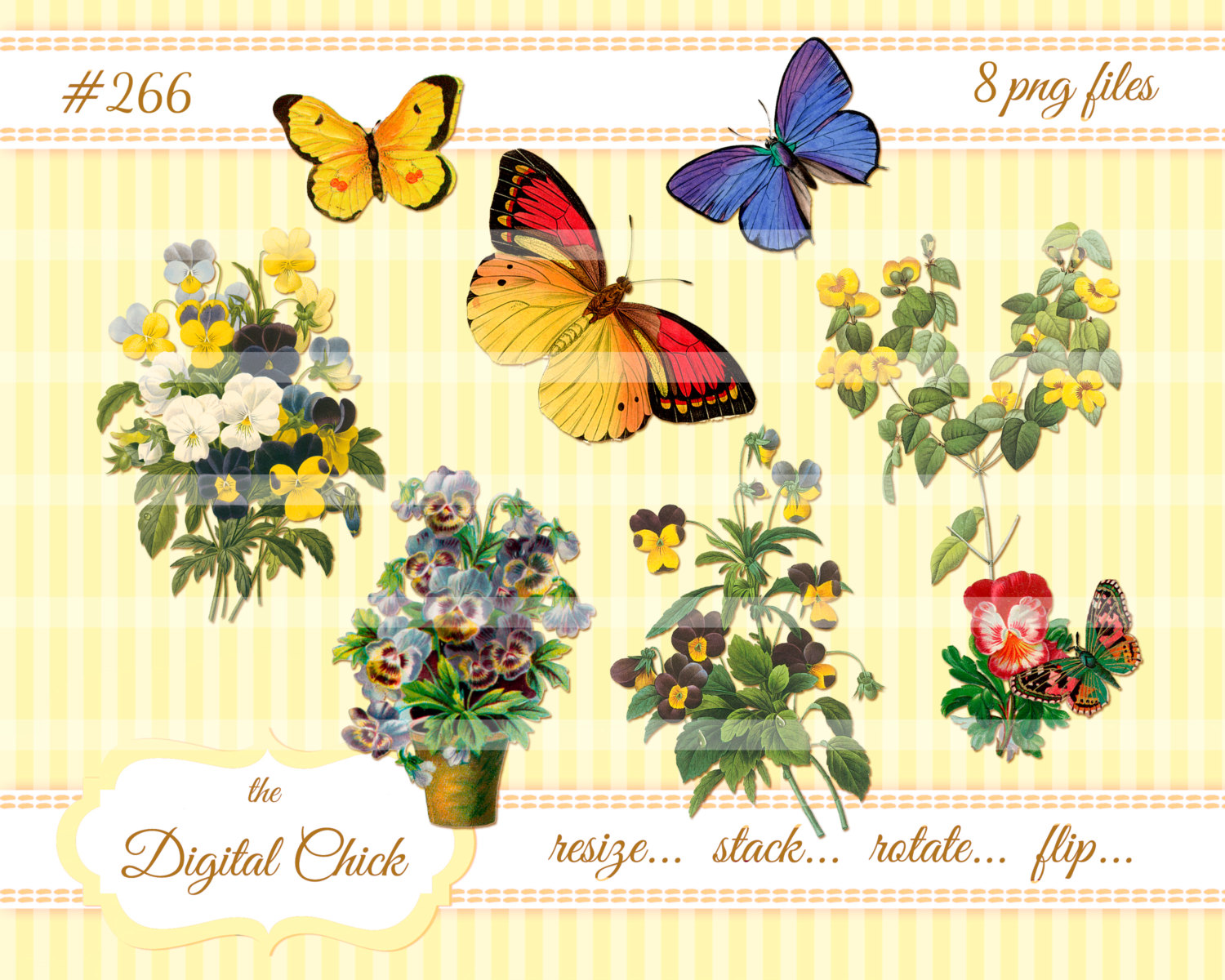 Pansy clipart butterfly vintage Vintage Pansies and Drawing Gallery