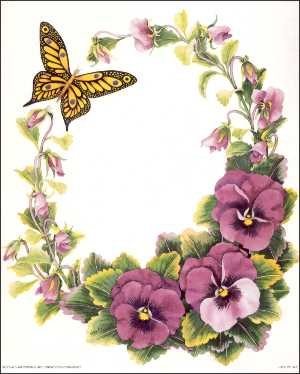 Pansy clipart butterfly vintage Pansy Paper 3D Kit Tole