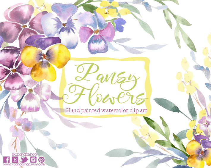 Pansy clipart flower garland #8