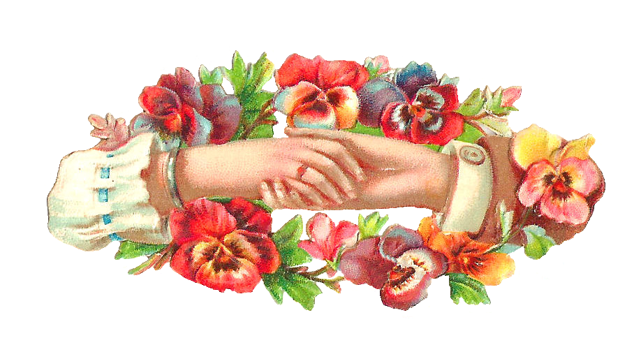 Pansy clipart victorian  with Hand Graphic: Pansy