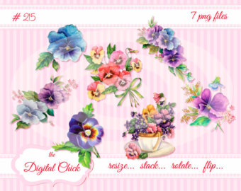 Pansy clipart vintage #14