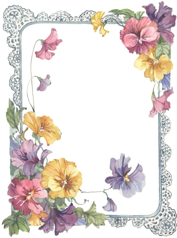 Pansy clipart vintage flower border About 15 with Pinterest Flowers