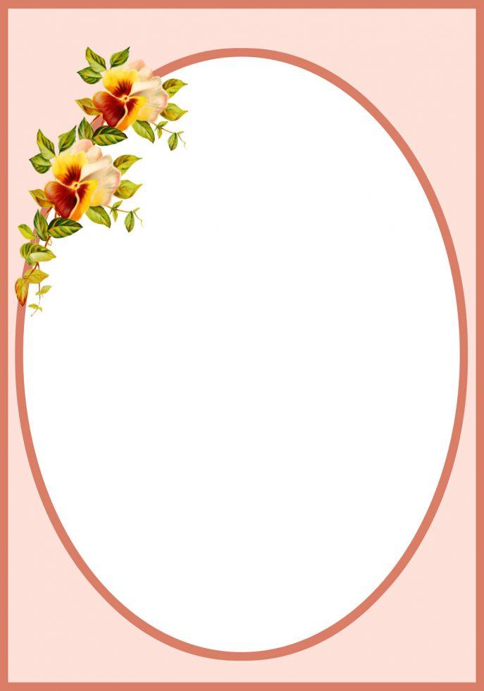 Pansy clipart vintage flower border  Flower size Metal Photo