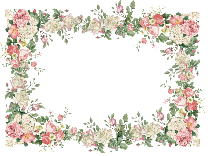 Pansy clipart vintage flower border : Metal Medium Frame And