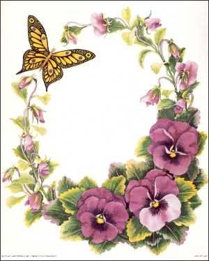 Pansy clipart vintage flower border On best 2711 Borders Borders