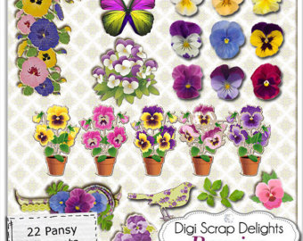 Pansy clipart violet flower Pansy Vintage Purple Digital art