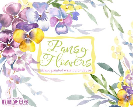 Pansy clipart watercolor Clipart Pansy bouquet Floral art