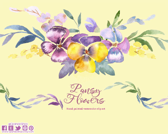 Pansy clipart watercolor Clip art Watercolor digital flowers