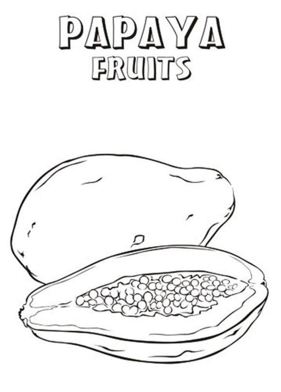 Papaya clipart coloring Of Coloring Pages Coloring Fruits
