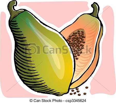 Papaya clipart papaya fruit Illustration fruit Stock Drawing csp3345624