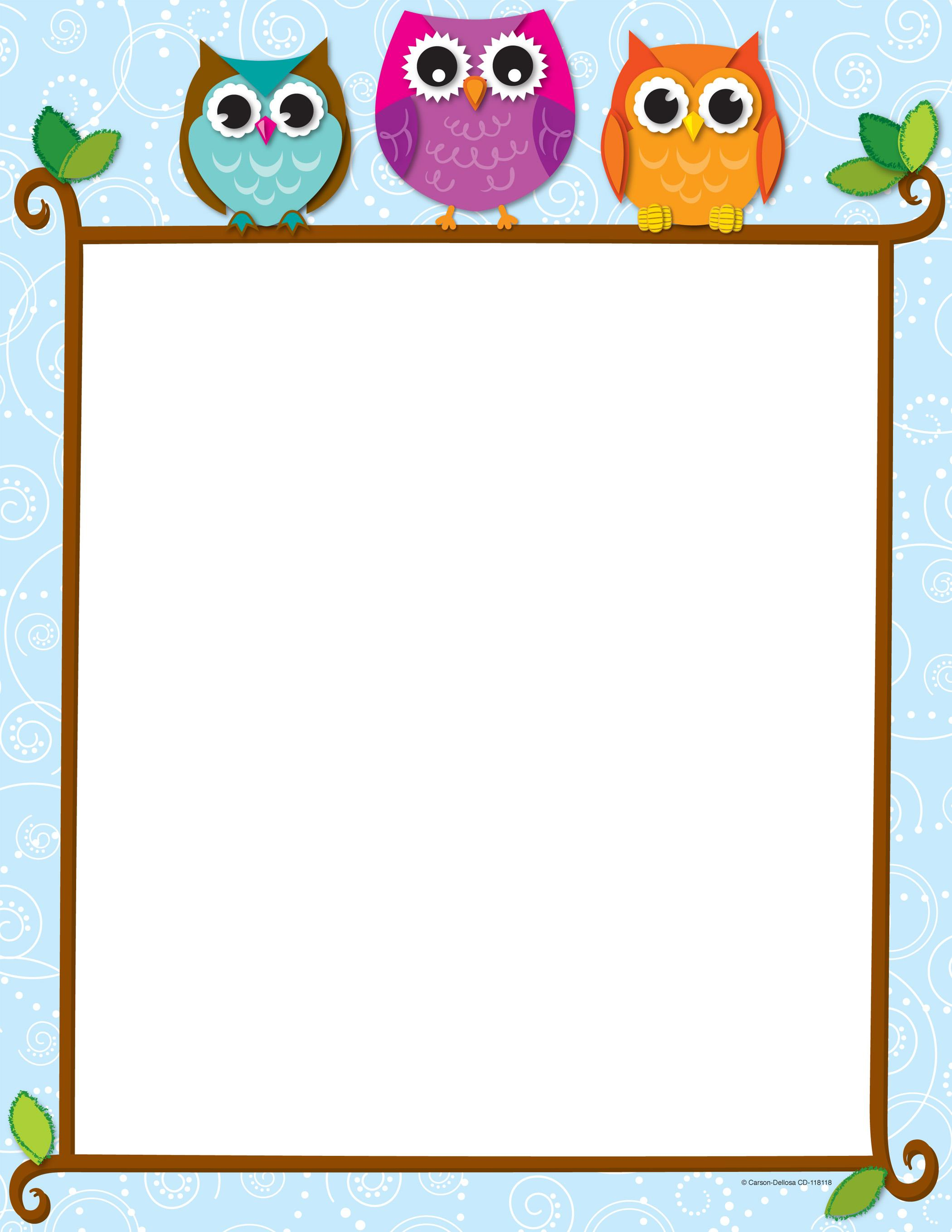 Owl clipart frame Design Owls whimsical Colorful