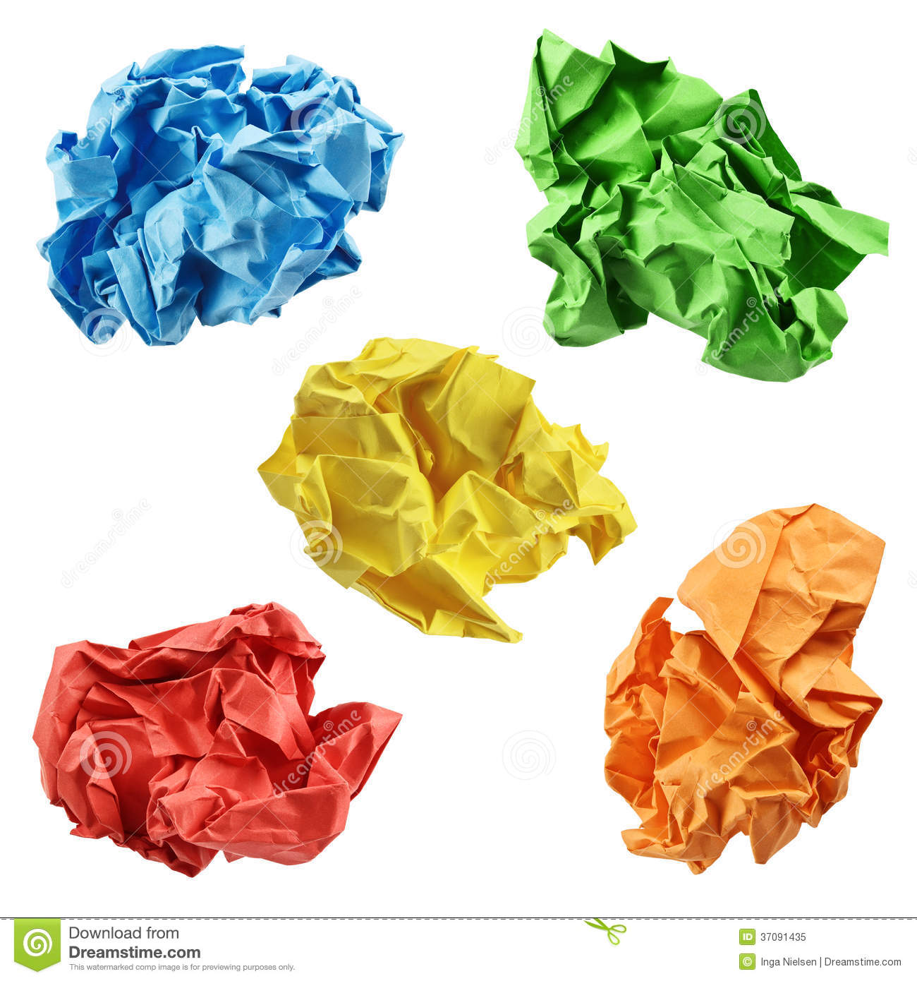 Paper clipart crumple BALL PAPER green YELLOW YELLOW
