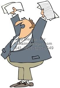 Paper clipart man Man Up Holding Illustration: Upset