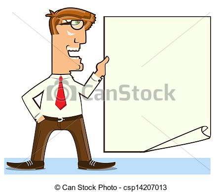 Paper clipart man Office for white paper Vector