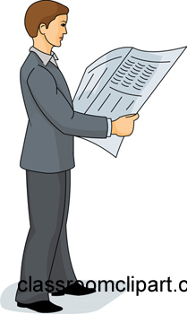 Paper clipart man News : Reading paper :