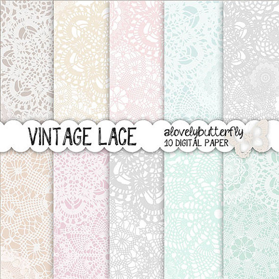 Paper clipart small  lace digital wedding paper