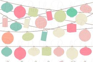 Paper Lantern clipart Paper Pastel Market Clipart Hanging