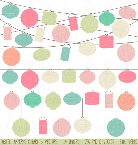Paper Lantern clipart ~ Pastel Lantern Clipart Hanging