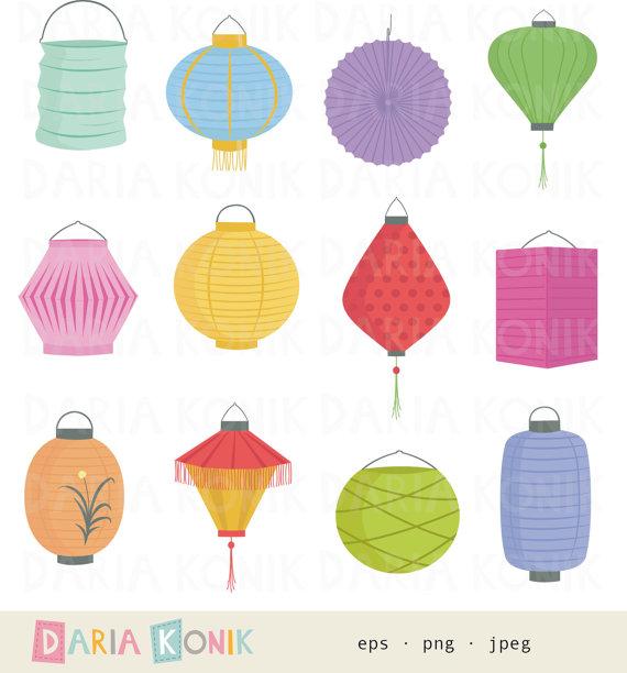 Paper Lantern clipart Dariakonik Paper clipart clipart Set