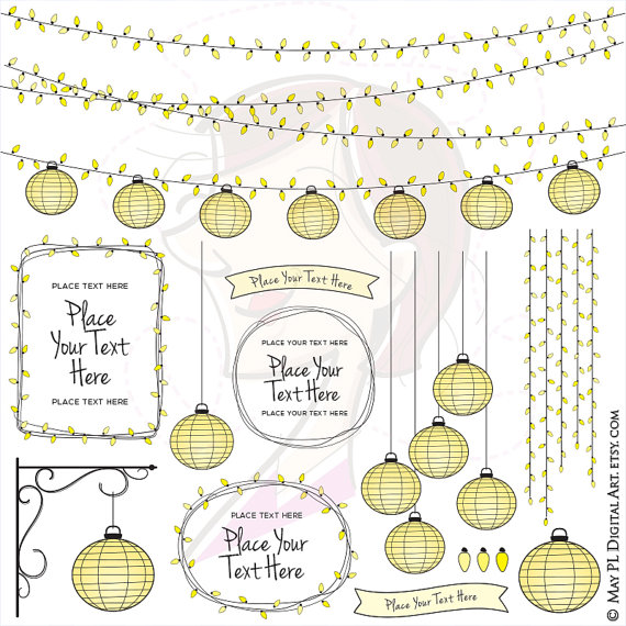 Paper Lantern clipart light strand Lights Paper Items 10712 Vector